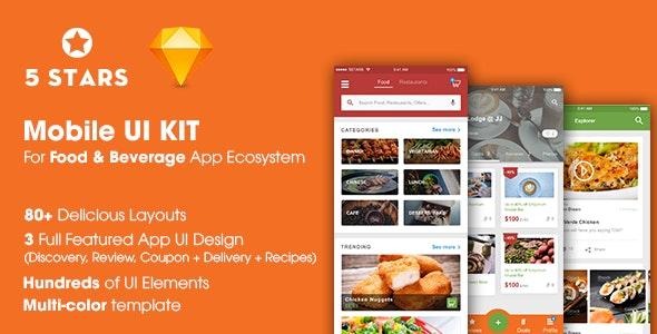 5Stars - Mobile UI KIT for Food & Beverage App Ecosystem - Restaurants & Cafes Entertainment