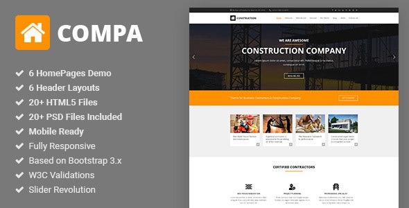 Compa - Construction & Building Company HTML5 Template - Business Corporate