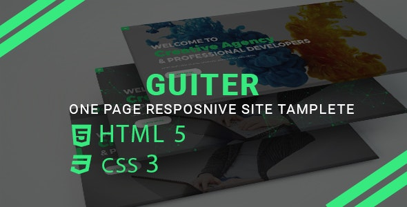 Guiter-One Page Resonsive Template - Corporate Site Templates