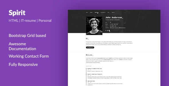 SpirIT — Portfolio & Resume HTML Template for Developers, Programmers and Freelancers. - Virtual Business Card Personal