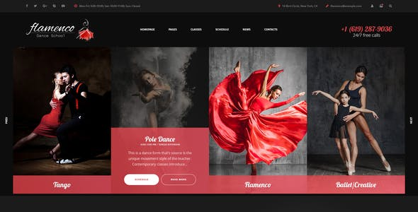 Flamenco - Dance School PSD Template