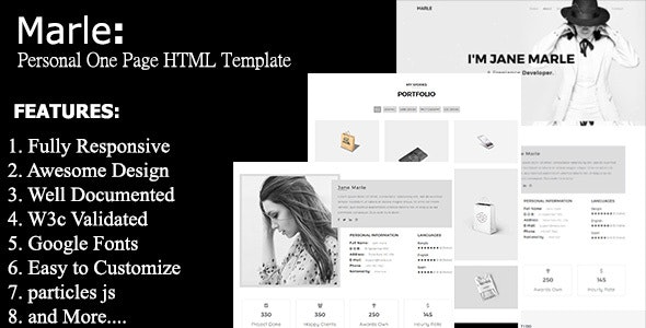 Marle - Personal One Page Template - Portfolio Creative