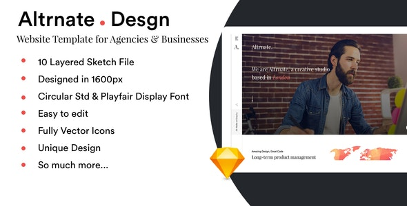 Altrnate Desgn website Design Template - Sketch UI Templates