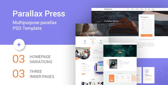 Parallax Press - One Page Multipurpose PSD Template - Business Corporate