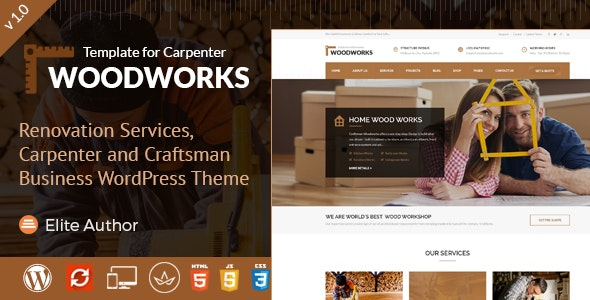 Wood Works - Renovation Services, Carpenter and Craftsman Business WordPress Theme