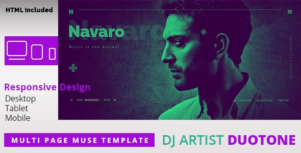 DJ Artist Duo Tone  Responsive Muse Template - Personal Muse Templates