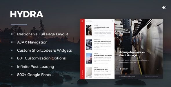 Hydra - Responsive WordPress Blog Theme - Personal Blog / Magazine