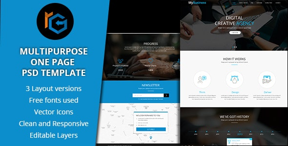 RG One Page Multipurpose PSD Template - Creative Photoshop
