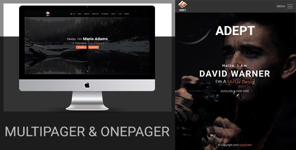 Adept - Creative Personal Portfolio / Resume And Blog Template - Creative Site Templates