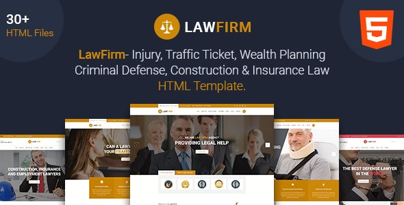 Law Firm - Lawyer, Law Office, Injury Law, Defense Law, Insurance Law html5 template - Corporate Site Templates