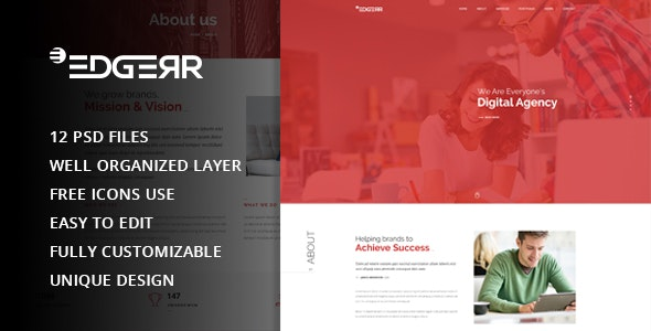 EDGERR - Consulting,Finance, Business Agency PSD Template - Corporate Photoshop