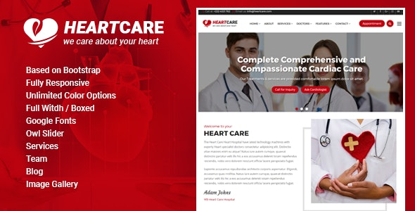 Heart Care - Heart and Medical Care HTML Template - Business Corporate