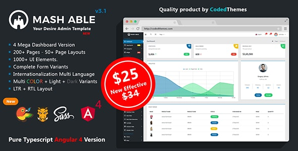 Mash Able Bootstrap 4 Admin Template + Angular 4 & 5 Version by