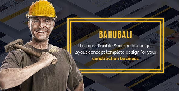 BAHUBALI Construction, Building, Business, Renovation and Architecture PSD Template - Business Corporate