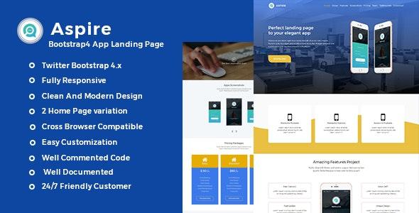 Aspire -Bootstrap4 App Landing Template - Technology Site Templates