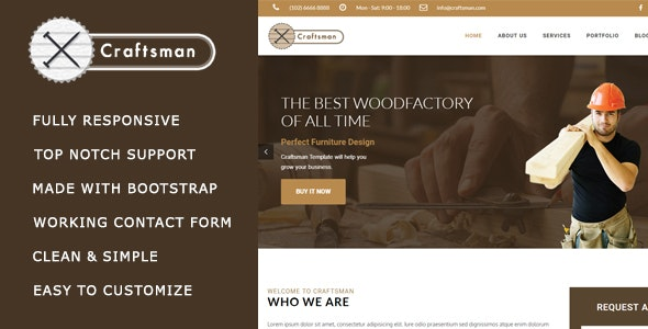 Craftsman - Carpentry/Woodwork HTML Template - Corporate Site Templates