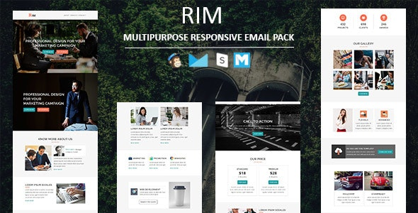 Rim - Multipurpose Responsive Email Template with Stampready Builder Access - Newsletters Email Templates