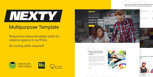 Nexty - Creative Multipurpose Portfolio / Agency Responsive Muse Template - Creative Muse Templates