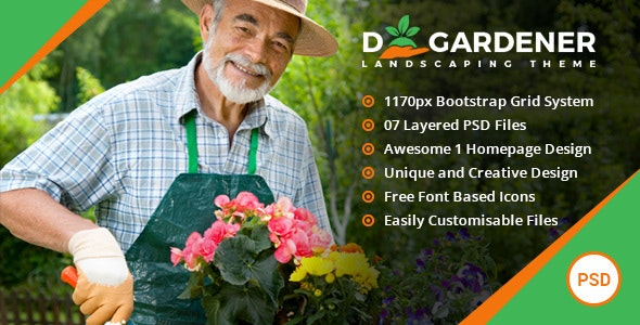 dGardener - Gardening and Landscaping PSD template - Business Corporate