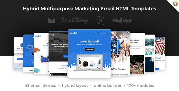 BlauMail - Hybrid Multipurpose Marketing Emails + 170 modules + StampReady Builder - Newsletters Email Templates