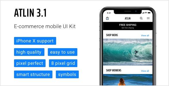 Atlin 3.1 — e-commerce mobile UI Kit - Retail Sketch