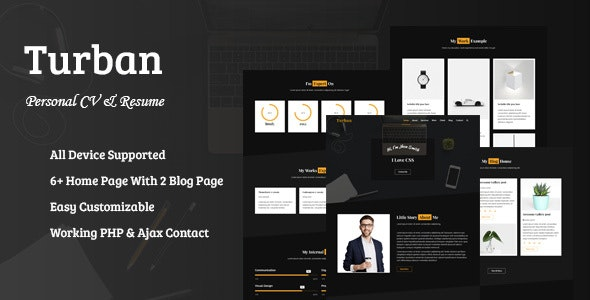 Turban - personal CV and resume - Portfolio Creative