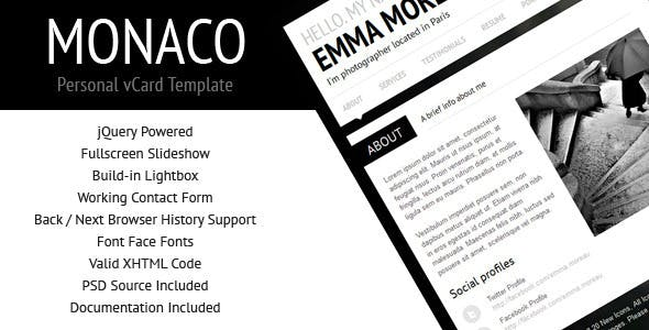 Monaco - Personal vCard Template by QuanticaLabs