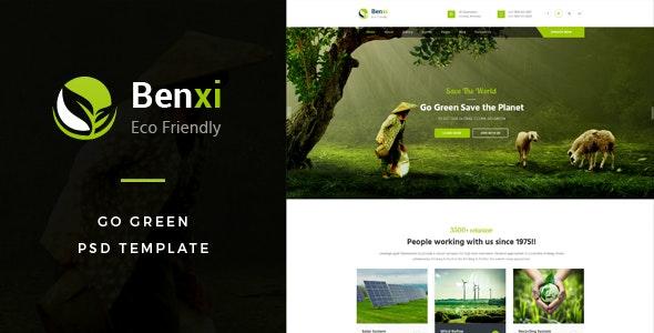 Benxi : Go Green PSD Template - Environmental Nonprofit
