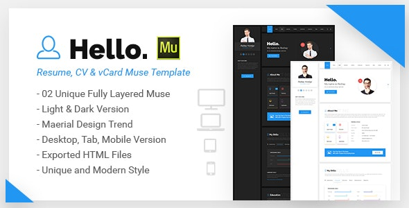 Hello Resume - CV, vCard & Portfolio Muse Template - Personal Muse Templates