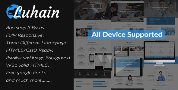 Luhain  -  Multipurpose Responsive Onepage Bootstrap Template. - Corporate Site Templates