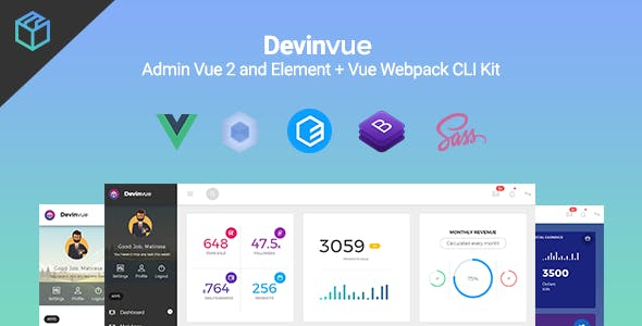 Devinvue - Admin Vue 2 and Element + Vue Webpack CLI Kit