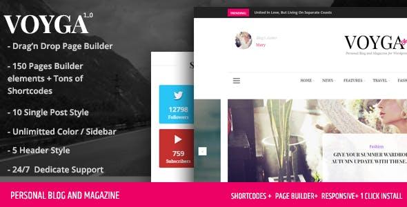 Voyga - Personal Blog and Magazine Responsive WordPress Theme