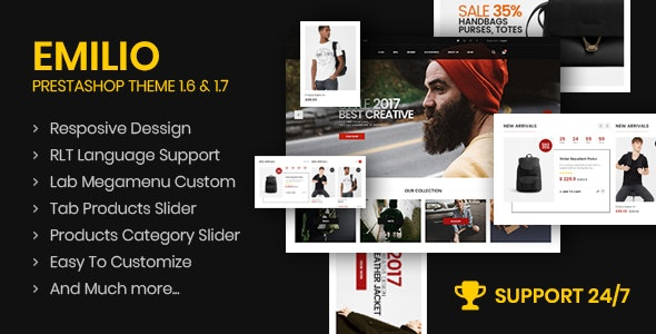Emilio Responsive PrestaShop 1.6 & 1.7, Electronic ,Fashion, Shopping - Multi Store (6 Homes) - Fashion PrestaShop