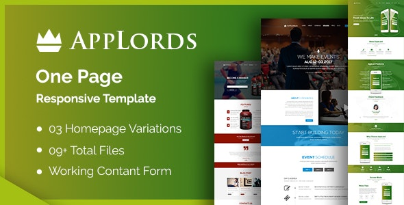 AppLords: One Page Multipurpose Responsive HTML Template by shmai