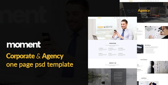 Moment One Page Corporate and Business Template - Corporate Photoshop