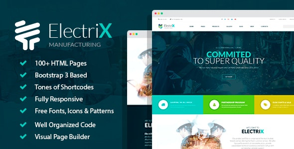 ElectriX+ - Industrial and Electric Equipment Manufacturing HTML Template with Builder - Business Corporate