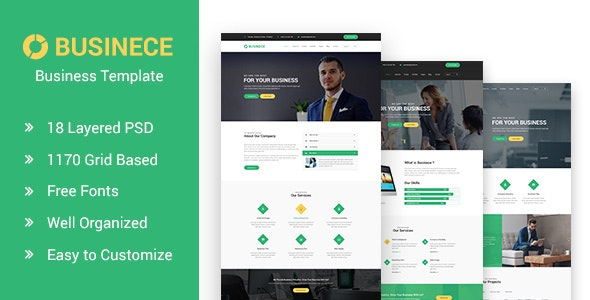 Businece- Business and Consulting PSD Template - Corporate Photoshop