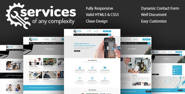 Services - Repair Responsive HTML 5 Template - Technology Site Templates