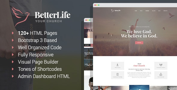 BetterLife - Church & Religious HTML template with Visual Page Builder and Dashboard - Churches Nonprofit