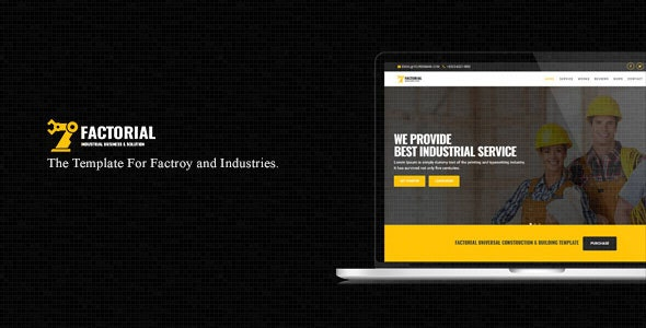 Factorial || One Page Template For Factory & Industries - Corporate Site Templates