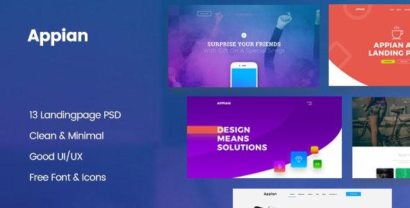 Appian Landing page PSD Template - Technology Photoshop