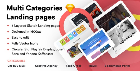 Multi Categories Web Design Template for Startups - Sketch