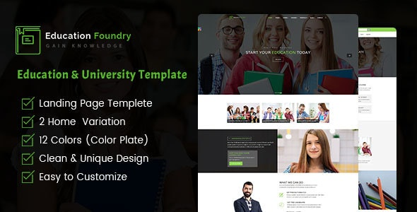Education Foundry - Academy & Training Courses HTML5 Template - Corporate Site Templates