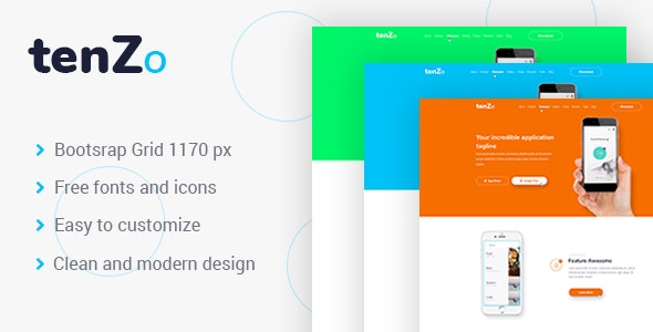 TenZo - Mobile App Landing Page PSD Template - Software Technology