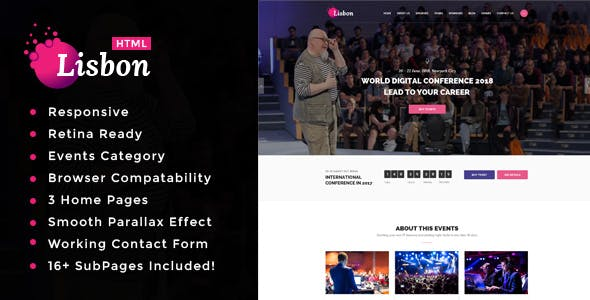 Lisbon - Conference & Event HTML Template