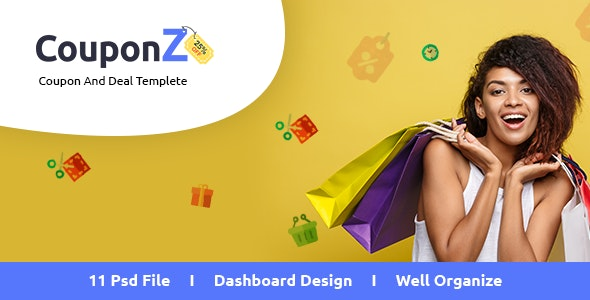CouponZ - Deals & Coupon PSD Template - Photoshop UI Templates