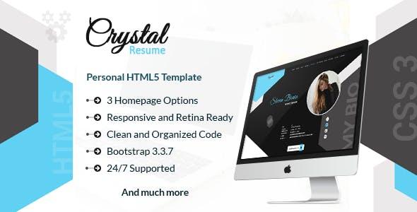 Crystal - Creative Portfolio, Resume and CV HTML Template