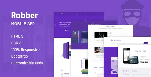 Robber - App Landing Page HTML Template - Technology Site Templates