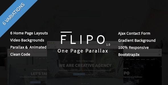 Flipo - One Page Parallax HTML5 Template - Creative Site Templates
