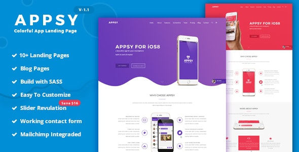 APPSY - Colorful App Landing Page Template - Software Technology
